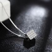 項鍊+925純銀 鑲鑽吊墜-個性方形生日情人節禮物女飾品73gu24【時尚巴黎】