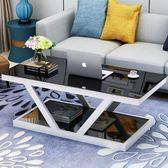 茶几簡約現代3C鋼化玻璃茶幾創意個性小戶型客廳辦公室長方形時尚茶桌liv·樂享生活館