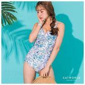 Catworld 綠葉搖曳。印花側綁帶連身泳裝【11500526】‧M/L/XL