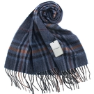 S.T.Dupont 羊駝毛混紗典雅格紋圍巾(藍色系)989120-7