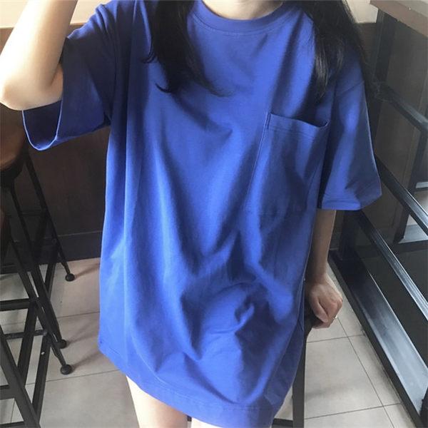 [協貿國際]夏日純色小清新圓領寬松顯瘦大碼T恤衫 寬袖口袋上衣1入