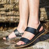 涼鞋 拖鞋男夏時尚外穿男士室外港風沙灘鞋皮涼鞋真皮潮流牛筋底一字拖 阿薩布魯