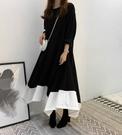 長袖洋裝連身裙韓國chic風圓領寬鬆顯瘦連衣裙配色拼接荷葉下擺長袖連衣裙現加預N145A1.9025