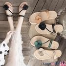 熱賣草編鞋 花朵拖鞋涼鞋兩穿女2021新款仙女風ins潮草編平底學生百搭沙灘鞋 coco
