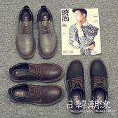 馬丁鞋  男鞋冬季休閑大頭鞋子男皮鞋韓版低幫馬丁靴英倫潮鞋加絨工裝棉鞋