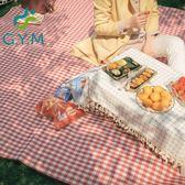 野餐墊紅白格加厚戶外便攜防潮墊可折疊帳篷防水野營地墊  糖糖日系森女屋