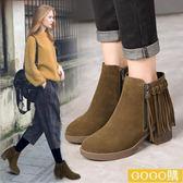 秋冬季流蘇磨砂皮高跟短靴短筒靴