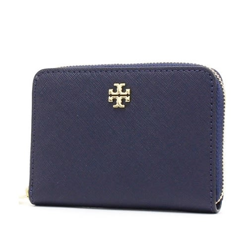 TORY BURCH 防刮皮革鑰匙零錢包(深藍)