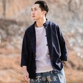 棉麻襯衫 唐裝男青年亞麻七分袖襯衫中國風盤扣漢服立領
