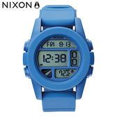 NIXON手錶 稍息立正我愛你 曾之喬配戴款 原廠總代理 A197-1405 UNIT電子錶藍色 潮流時尚膠錶帶