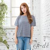 【ef-de】激安 錯綜條紋寬版短袖上衣(卡其/深藍)
