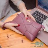 中年媽媽包手拿包女長款錢包單肩斜背包車縫線拼接小包包