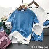 2021男童夏裝短袖T恤純棉兒童半袖打底衫洋氣中大童假兩件上衣潮 美眉新品