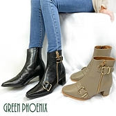 U6-23802 女款全真皮短靴 金屬皮扣拉鍊全真皮方楦粗高跟短靴/馬靴【GREEN PHOENIX】