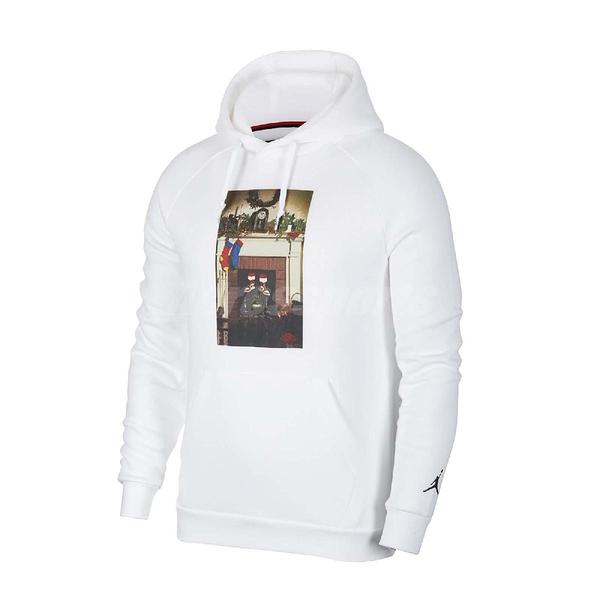 Nike 長袖T恤 Jordan Jumpman Chimney Hoodie 白 彩 男款 帽T 運動休閒 喬丹 【ACS】 CT4886-100