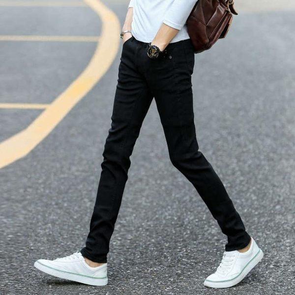 窄管褲秋季黑色彈力牛仔褲男士韓版修身青少年小腳褲潮流男裝男褲子長褲