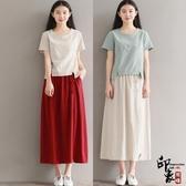 女文藝修身中長款棉麻T恤衫半身裙兩件時尚套潮 週年慶降價