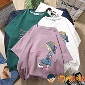 女童純棉T恤夏季時尚清新短袖寬鬆中大童韓版兒童上衣【淘嘟嘟】