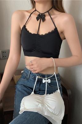 性感背心珍珠鏈扣掛脖小領結性感美背吊帶背心抹胸女3F051.1號公館