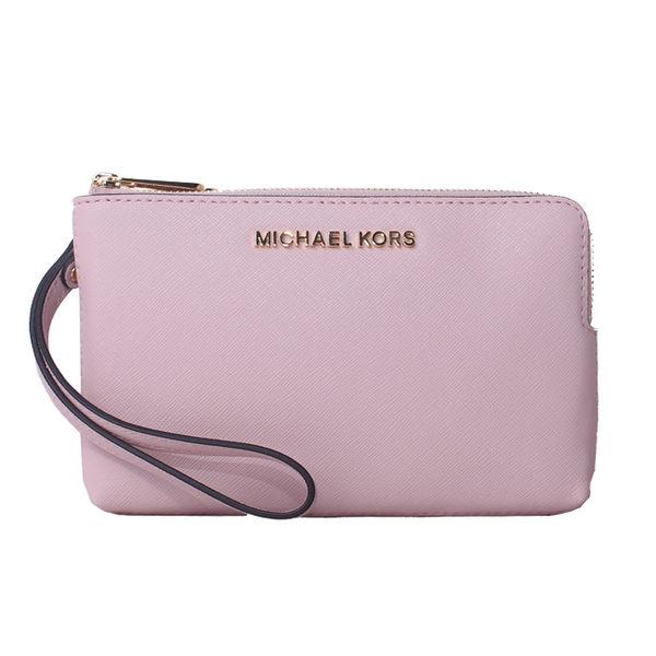 【MICHAEL KORS】JET SET TRAVEL經典金字防刮皮革雙層雙色手拿包(粉色/乾燥玫瑰粉)