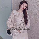 依米迦 針織衫 韓國甜美超仙刺繡翻領寬鬆燈籠袖毛衣