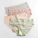 全場促銷九五折 4條裝 無痕內褲女冰絲款少女薄款透氣抗菌不夾臀純棉檔中腰三角褲