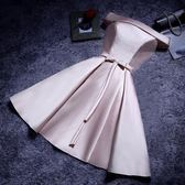 伴娘服短款伴娘禮服主持人晚禮服新娘敬酒服晚會小禮服裙 mc8419『M&G大尺碼』