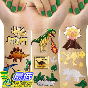 [8美國直購] Dinosaur Temporary Tattoos For Kids, 4 Sheet Dinosaur Tattoos For Dinosaur Birthday Party Supplies Favors