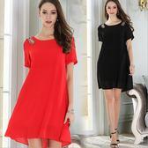 中大尺碼洋裝 雪紡寬鬆手工釘珠氣質短袖連衣裙 2色 M-5XL #mm2896 ❤卡樂❤