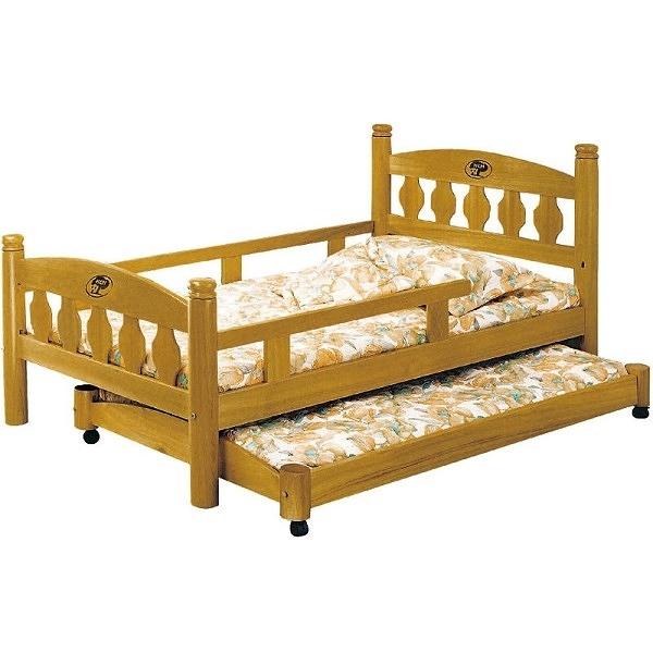 床架 床台 AT-597-34 3.5尺烏心石圓柱母床+子床 (不含床墊) 【大眾家居舘】