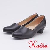 kadia.氣質OL 素面牛皮粗低跟(9544-90黑色)