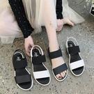 涼鞋.MIT韓版簡約一字拼接鬆緊帶平底涼鞋.白鳥麗子