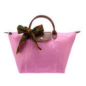 LONGCHAMP 經典短提把中型尼龍摺疊水餃包(粉紅色-含帕巾)480101-058