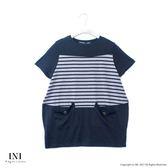 【INI】自信風采、休閒條紋拼接造型口袋上衣.黑色