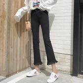 2018新款韓版高腰毛邊修身顯瘦微喇叭褲黑色牛仔褲九分褲【潮咖地帶】