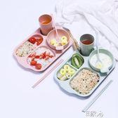 帶杯碗麥秸稈兒童餐盤6件套裝 E家人