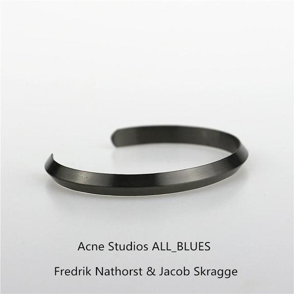 手鐲 歐美潮品極簡主義男女Acne Studios ALL_BLUES三角形情侶鈦鋼手鐲-凡屋