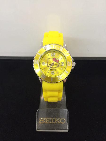 【震撼精品百貨】Hello Kitty 凱蒂貓-手錶-圓形錶面--黃色矽膠錶帶【共1款】