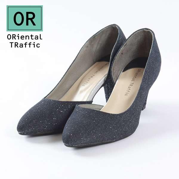 【ORiental TRaffic】時髦簡約側挖空高跟鞋-深邃藍