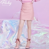褲裙 單邊開衩素色皮質褲裙-Ruby s 露比午茶