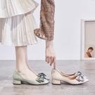 單鞋女2020春秋季新款中跟蝴蝶結粗跟小皮鞋尖頭淺口仙女晚晚春鞋 依凡卡時尚