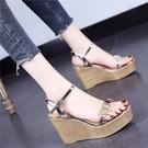 厚底涼鞋 2021夏新款歐美厚底防水臺女士涼鞋坡跟一字扣帶透明水鉆高跟涼鞋