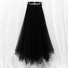 半身紗裙不規則大碼女垂感顯瘦高腰網紗長裙中長款春夏款半身裙