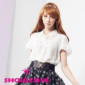 【SHOWCASE】優雅荷葉袖綁帶雪紡襯衫(白)