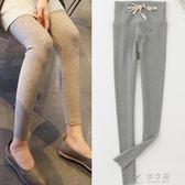 孕婦打底褲款外穿豎條紋孕婦褲子抽繩薄款螺紋顯瘦托腹褲  俏女孩
