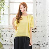 【ef-de】激安 公主袖微壓摺素色襯衫上衣(純白/天藍/暖黃)