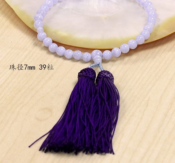 [協貿國際]天然藍紋瑪瑙手念珠正絹流蘇單個價