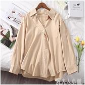 春季新款時尚韓版純色長袖襯衫POLO領單排扣襯衣女衫154007 「錢夫人小鋪」