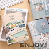 手帳本活頁日式創意 彩頁皮面綁帶筆記本