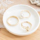 紐約風尚直紋圈環搭珍珠金珠尾戒組(三件組)【r1411010】